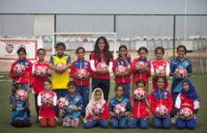 Arsenal Ladies' captain Alex Scott visits Save the Children football programme funded by Arsenal. Tom Pilston/Save the Children